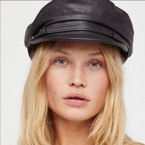 Free People black leather cap